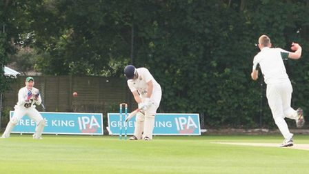 Andy Hanby claims one of his six wickets for Great Witchingham in their first win of the season, at