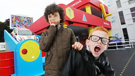 Mini-mes of Jeremy Clarkson and Chris Evans were up to mischief on Honda UK's stand at Goodwood Fest