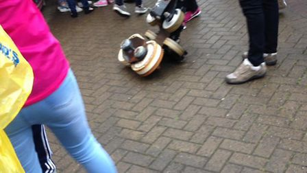 Taken with permission from the Facebook page of Katie Burns of a rollercoaster wheel on the ground f