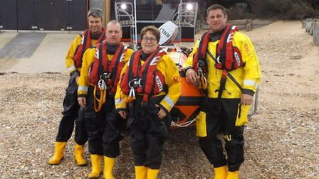 Jayne Wilcox with some of the lifeboat crew who'll be manning the vessel