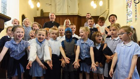 Bluebell Primary School children who have fundraised for the organ repairs at St Mary's Church, Earl