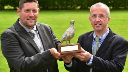 Royal Norfolk Show 2016. Presentation of the Grey Partridge award to Davd Chandler (left) and Anthon