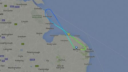 The Easterns Airways flight was diverted back to Norwich Airport. Picture: FlightRadar24