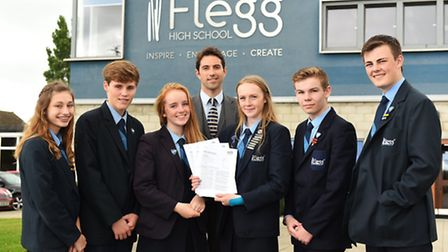 Flegg High School who have recently had a good Ofsted report.The Student Leadership Team with princi