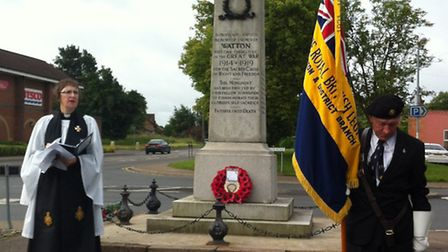 Whistle for the Somme service at Watton war memorial. Rev Gerry Foster and Royal British Legion chai