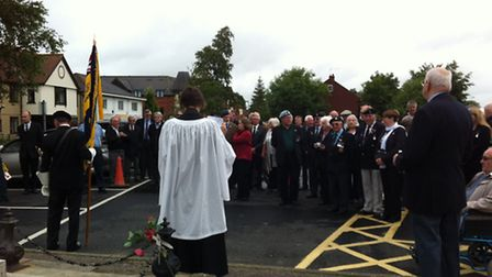 Whistle for the Somme service at Watton war memorial. Rev Gerry Foster and Royal British Legion secr