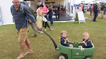 The Royal Norfolk Show 2016. Meals on wheels as 21-month-old twins Lyall, left, and Willis Dobson en