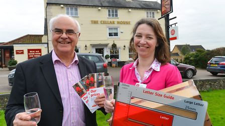 Victoria MacDonald with Terry Stork of 'Pub is the Hub' at the opening of the new Post Office in the
