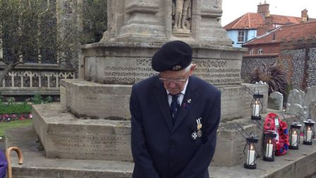 From left: George Baker, 87, keeps the first watch of the 18-hour vigil in Cromer. Picture: ALEX HUR