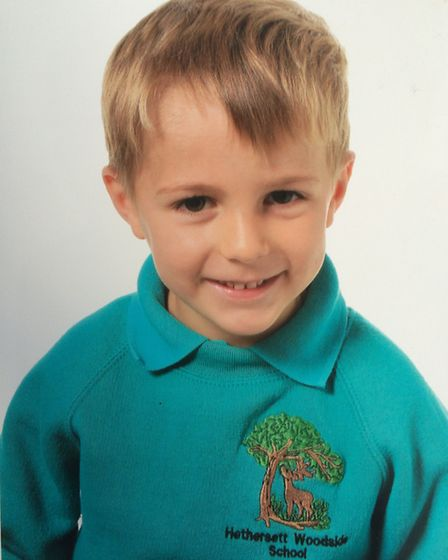 Finnbar Cork, aged five, of Hethresett. Pictured in September 2015 at the start of the school year a
