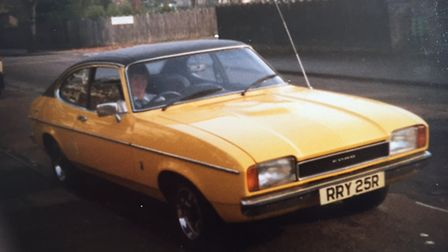 John Bowler pictured in his Ford Capri in 1983 when he had just passed his driving test... and been