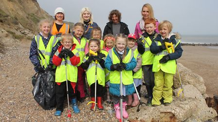 Marine Conservation Society volunteer Michelle Duffy (back, left) with staff and pupils from Northre