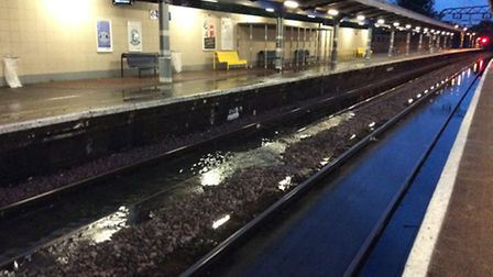 Flooding at Manor Park. Picture Network Rail