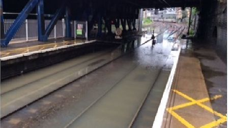 Flooding on the Norwich to London Liverpool Street Line. Picture Network Rail/Abellio Greater Anglia