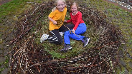 Dulcey Gebbett, nine, right, and her friend Rosa Hare, eight, in the giant nest her family and local