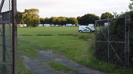 The Travellers who have arrived at land opposite the Open Academy. Picture: DENISE BRADLEY