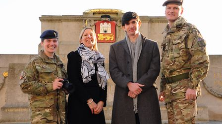 Lt Sophie Tasker, left, project officer, with members of the team launching the Norfolk Remembers Pr