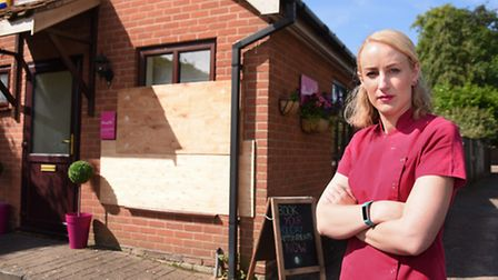 Owner Lyndsey Gonzalez at the Beauty Shed, Hethersett, which has been burgled for the second time in