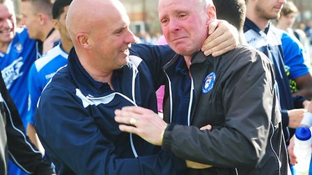 Micky Chapman's emotional farewell follwoing Lowestoft Town's match with Barrow. Picture: Nick Butch