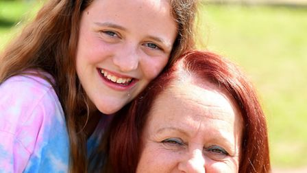 Abbie Boast, pictured with her mother Ali, needs treatment in America for a tumour. Picture: James B