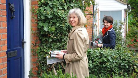 Theresa May visited Norwich in 2013 where she met local residents in Albany Road with MP Chloe Smith