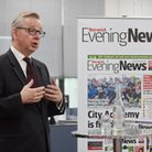 MP Michael Gove taking questions from a panel of invited guests at Archant. Photo: Steve Adams