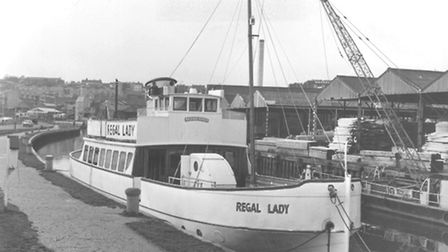 The Regal Lady passenger trip boat moored on the River Wensum near Foundry Bridge, Norwich.