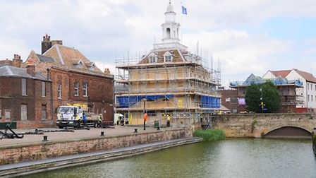 The Custom House in King's Lynn is covered in scaffolding. Picture: Ian Burt