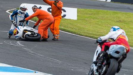 Morello Racing's Davey Todd crashes in qualifying for Superstock 600. Picture: Barry Clay