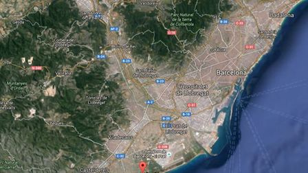 Map showing where Sam Alger was last seen at the Row 14 venue south of the city near El Prat Airport