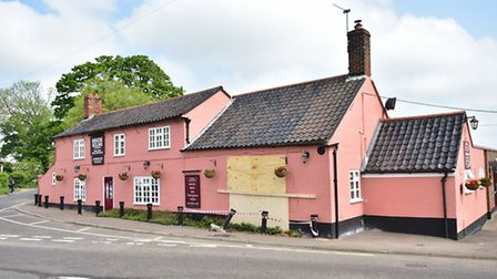Damage to the Brick Kilns pub at Little Plumstead after a crash last month. Picture: ANTONY KELLY