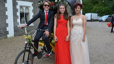 Cromer Academy pupils made their grand entrance at their school pupil using all modes of transport -