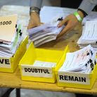Votes are sorted into Remain, Leave and Doubtful trays as ballots are counted during the EU referend