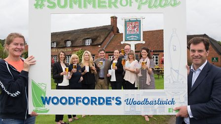 Belinda Jennings and Rupert Farquharson from Woodforde's launch the Summer of Pubs campaign, with re