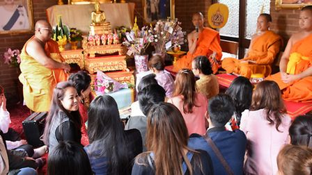 Thai Monks take part in a service at the new Temple which has opened at Hellesdon. From left, deputy