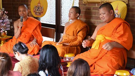 Thai Monks take part in a service at the new Temple which has opened at Hellesdon. From left, the mo