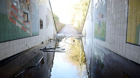 The flooded underpass in Toftwood, near Dereham. Picture: Matthew Usher.