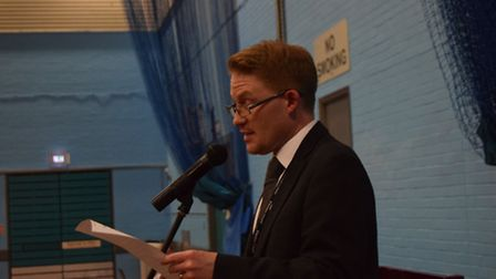 Returning officer Arthur Charvonia announces the result of Waveney count in the EU referendum.