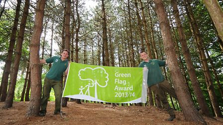 Pretty Corner Wood received a Green Flag for 2013/14. Left to right, NNDC rangers Will Fitch and Mar