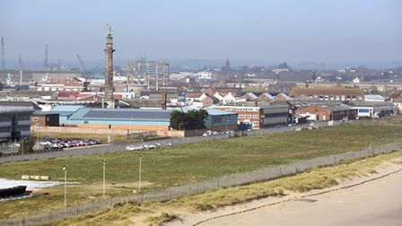 View of the South Denes area of Great Yarmouth from the Outer Harbour.Picture: James Bass
