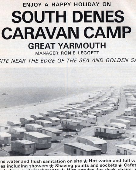 FAVOURITE SPOT: a 1977 advertisement for the South Denes Caravan Camp in Yarmouth where Peggotty cor