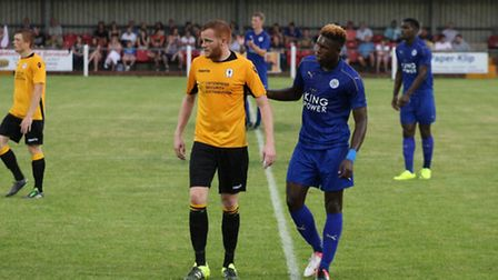 Action from Fakenham Town v Leicester City U21s at Clipbush Park, Kyle Plumb in action. Picture: Ton