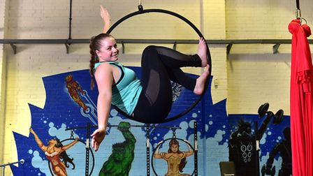 Reporter Jess Long having a circus fitness lesson at Spitfire Circus Arts.Picture: ANTONY KELLY