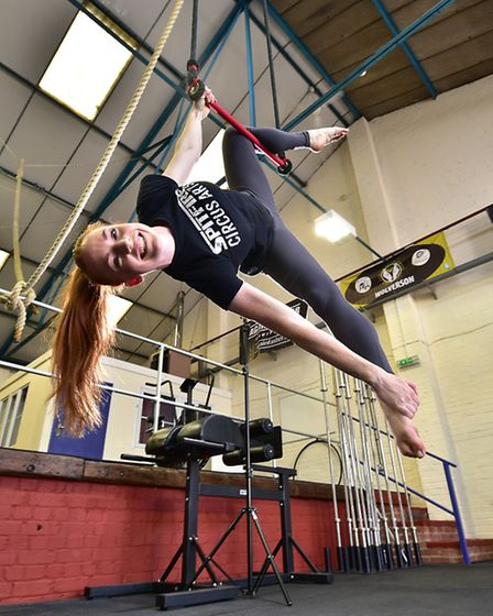 Spitfire Circus Arts coach Emily Quantrill.Picture: ANTONY KELLY