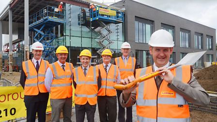 Official topping out ceremony of the new University Centre at the College of West Anglia. Pictured (