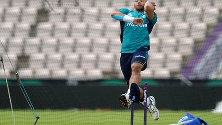 England's Tymal Mills bowls during a nets session at the Ageas Bowl, Southampton. Picture: Clive Gee