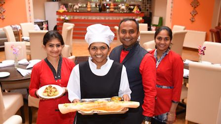 The new family run vegetarian curry house Namaste Village at Queens Road. Vijay Jetani, with his wif