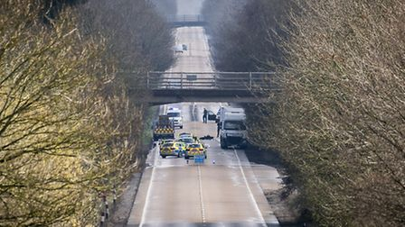 Police at the scene of a serious RTC on the A47 near Scarning on April 4. Picture: Matthew Usher.