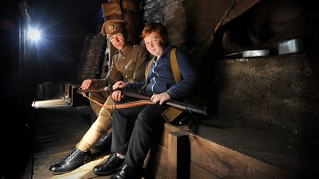 Brad Cooper explains the reality of the trenches, in the recreation, too 10 year-old Thomas Stansfie