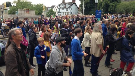 EU and international migrants in Norwich solidarity rally